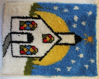 Vintage Religious Yarn / Tapestry Wall Hanging