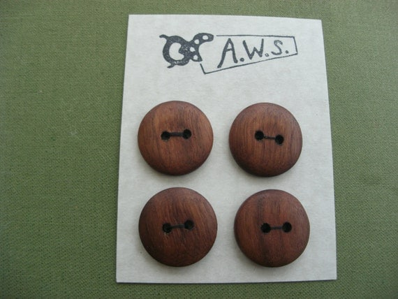 Four Wood Buttons Black Walnut (1 Inch)