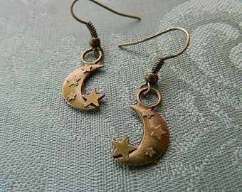 On a Starry Night, earrings in bronze colour