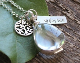 Personalized Family Tree Picture Locket - Hand Stamped Word, Initials of Choice