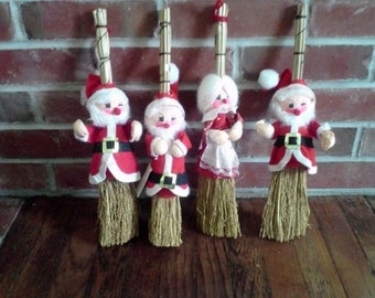Vintage Santa and Mrs Claus Holiday Hanging Broom Decorations.