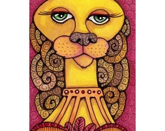 ACEO Original Cat Girl in Yellow, Gold and Red