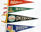 Vintage 1950s era family road trip felt pennants