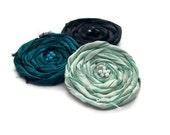 Emerald Brooch Trio Silk Jade Emerald Black Silk  Womens Rosette Bag Coat Pin Jewellery Accessory