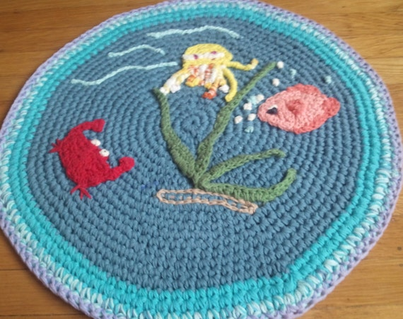 Jelly fish crab and fish bath mat handmade by for Fish bath rug