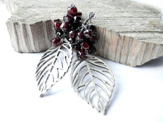 Garnet Silver Earrings - Stud Chandalier Dangle Earrings - January Gemstone - Burgundy Oxblood Dark Red - Leaf Woodland Fairytale Jewelry