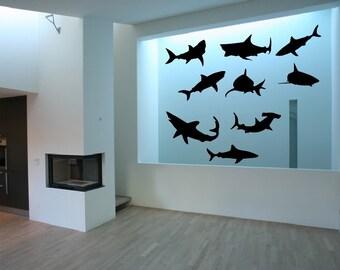 Shark Wall Decals, Vinyl Wall Decals, Nursery Decals, Kids Room Decor, Beach Decor, Shark Decor, Ocean Decals, Fish Decals 22304
