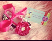 Baby Girl Damask & Hot Pink Crib Shoes Booties  READY TO SHIP
