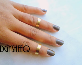Brass Midi rings, 2 Gold Smooth Band Knuckle Ring, Adjustable Midi Ring, Stackable rings, Edgysheeq statement rings for everyday Flair