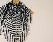 Striped Black White Fishnet Shawl with Fringes  - Fall Spring Summer Fashion - Women Accessories - Wrap -  Gift for Mother