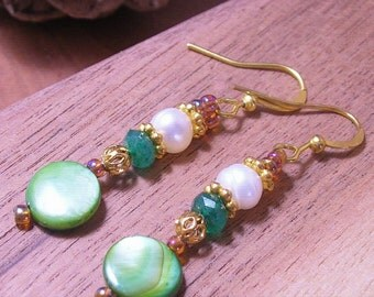Beautiful Green Mother of Pearl, 18K Gold Over Silver ,Emerald & Pearl Dangle Earrings