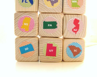 United States blocks. Educational toy. Usa. wooden block set. Toddler. United States. Eco friendly gift. Chevron.Colorful. Baby. Kids decor
