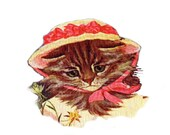 1 1/2 Fabric Cat Button - LITTLE Bo Peep Red Hat Kitten Ready to Ship
