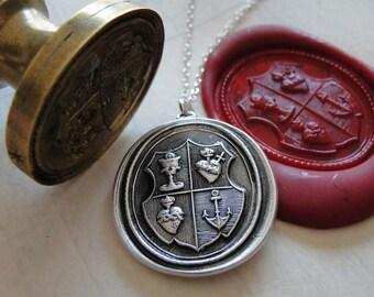 Love Hope Faith - Wax Seal Necklace christian anchor sacred heart chalice - shield wax seal charm jewelry by RQP Studio