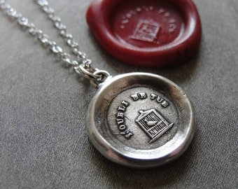 Don't Forget Me - Wax Seal Necklace bird in birdcage - Remember Me antique wax seal charm jewelry by RQP Studio