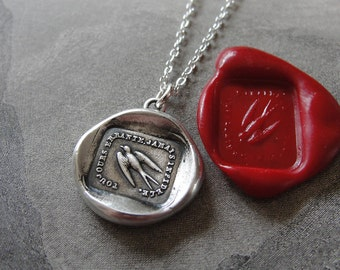 Swallow Wax Seal Necklace - Always Wandering Never Unfaithful - antique wax seal jewelry with bird by RQP Studio