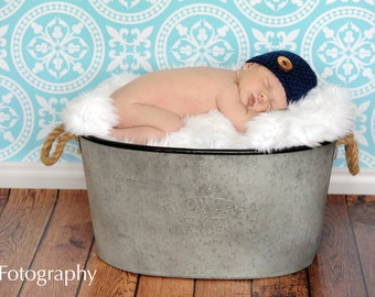 Navy Blue Baby Hat, Blue Baby Beanie with Wood Button, Navy Blue Hat, Crochet Baby Hat, Baby Boy Hat, Crochet Hat, Crochet Beanie, Newborn