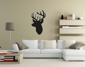 Deer, Buck, Stag, Antlers, Mount, Animal Head, Decorative Wildlife, Hunting Decal, Hunting Decor, Wall Art, Home, Mantle, Fireplace Decor