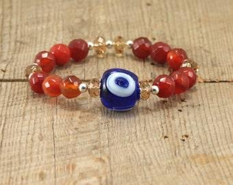 Orange Carnelian Evil Eye Bracelet Swarovski Crystal Blue Evil Eye Bracelet Eco-Fashion Bracelet Statement Bracelet