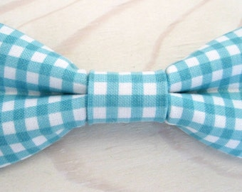 Newborn, Infant/Toddler, Youth bowties - Aqua Riley Blake gingham checkered bowtie, wedding birthday photo prop father son sibling sets