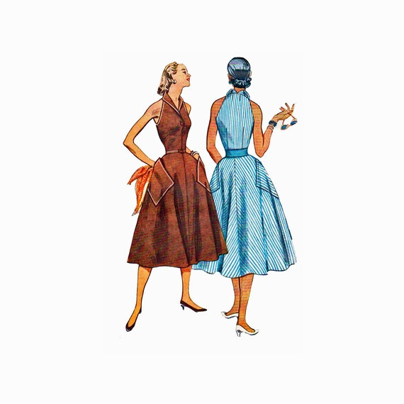 50s Misses Halter Dress Sewing Pattern Oversize Pockets Size 14 Bust 32  Simplicity 4354 UNCUT FACTORY FOLDED