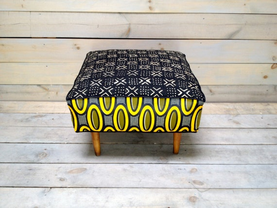 mali mudcloth and african dutch wax cotton upholstered ottoman. Black Bedroom Furniture Sets. Home Design Ideas