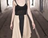 SALE: Plaid Panel Dress- Natural/ Sage, Sheer Black, Size Small