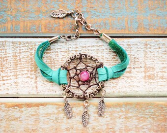 "Turquoise Deerskin Leather Dreamcatcher Bracelet. ""Living In A Dream"". Boho. Tribal. Bohemian. Feather. Dreamcatcher."