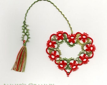 Tatted bookmark - Queen of Hearts