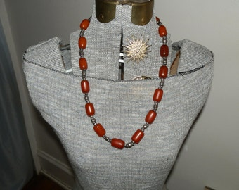 Vintage Necklace Faturan Prayer Bead Necklace Hand Made Silver Beads Bakelite Amber Handmade Turkish Jewelry DanPickedMinerals