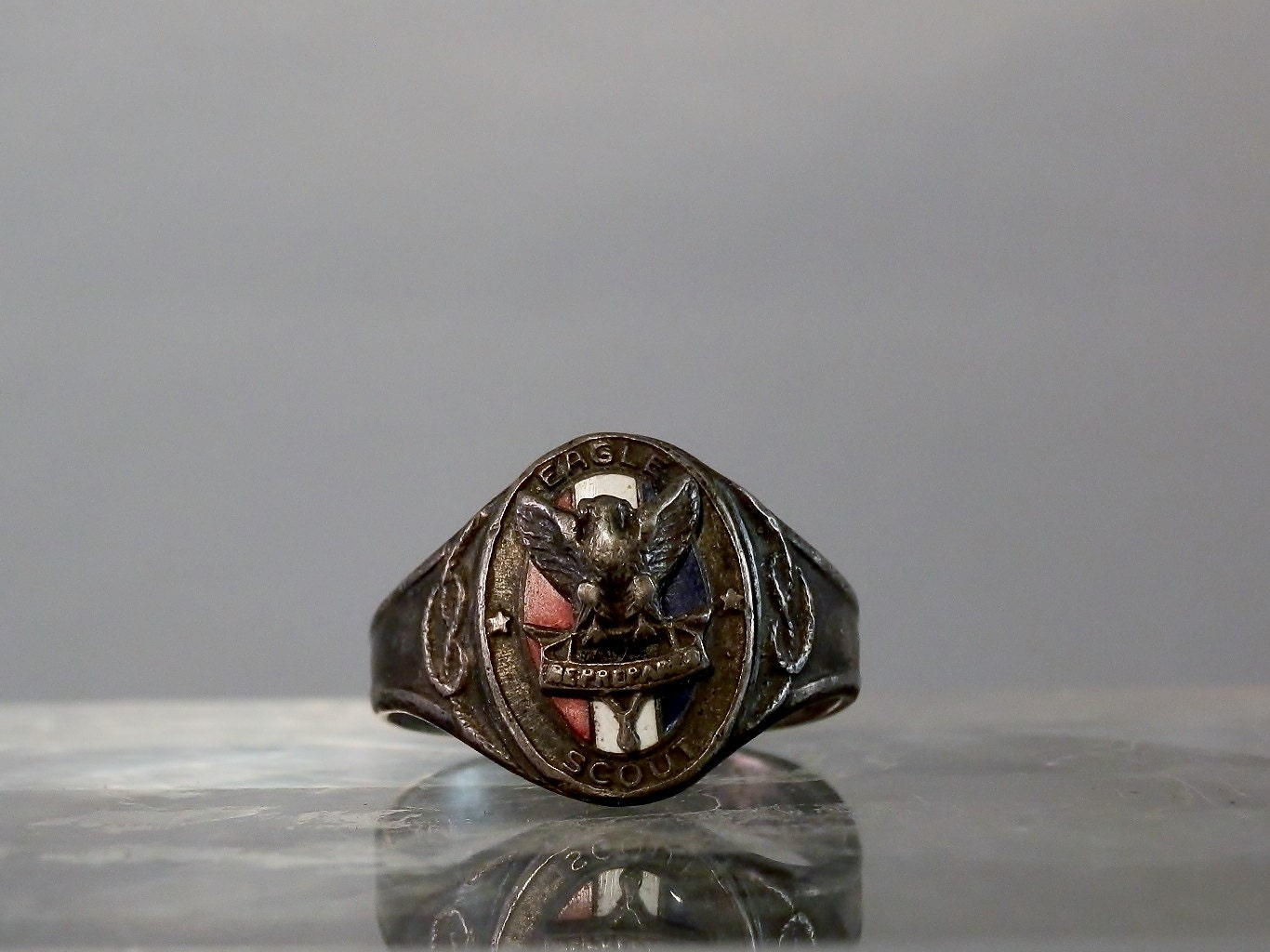 1930 u0026 39 s early eagle scout ring  type 1e  sterling