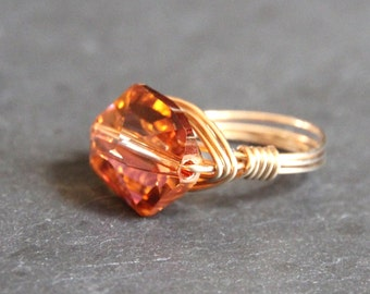 Gold Wirewrapped Ring Gem Pops. Copper Tangerine Swarovski Crystal Gold Wire Wrapped Ring. Bridal Customized Gifts