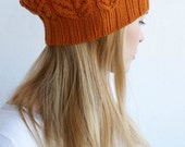 Hand knitted spring winter beret - chunky brown hat rustic Orange