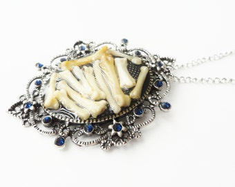 gothic bone jewelry, cameo necklace with mosaic of bones - BONESETTER