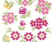Collection of Vintage Cross Stitch Floral Motifs Cross Stitch Pattern ** Instant Download PDF