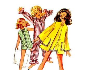 1960s Girls Jumpsuit Pattern Long or Short Play Suit Jacket Sleeper Suit Pajamas and Robe Vintage Sewing Pattern Butterick 5499 Size 6