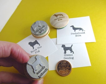 Pet Silhouette Larger Stamp for additional names bigger font sizes Personalized Pet Stamp