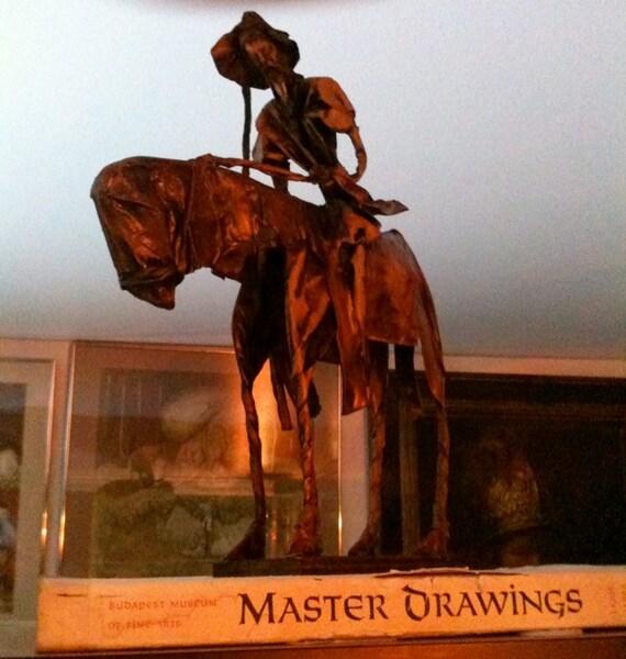 Mid Century Don Quixote Papier Mache Statue Sculpture on Wooden Base