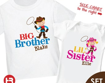 Cowboy Big Brother Shirt & Cowboy Little Sister Shirt or Bodysuit - 2 Personalized Sibling Shirts