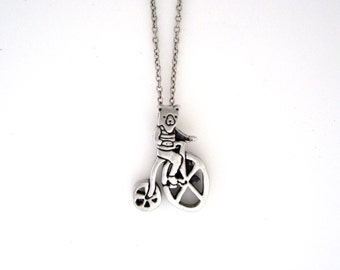 Biking Bear Necklace - Pewter Bear Pendant - Bicycle Necklace