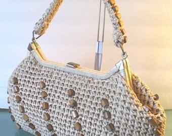 Vintage Raffia Handbag With Wood Bead Detail
