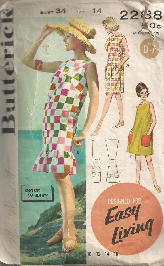 1962 Sleeveless Beach Dress with Ruffle at Hem or Ten Shaped Butterick 2288 Quick and Easy Size 14