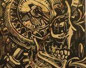 Hand Carved Linoleum Block Print - Steampunk Skull