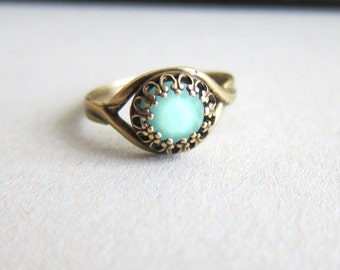 Aquamarine Ring Turquoise Ring Blue Mint Ring Cyan Antique Filigree Swarovski Crystal Mother's Day Gift Modern Jewelry Rustic Stone Ring