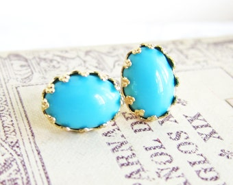 Turquoise Earrings Gold Plated Post Studs Blue Earrings Wedding Bridesmaids Vintage Glass Summer Trends Elegant Chic Bohemian MS1