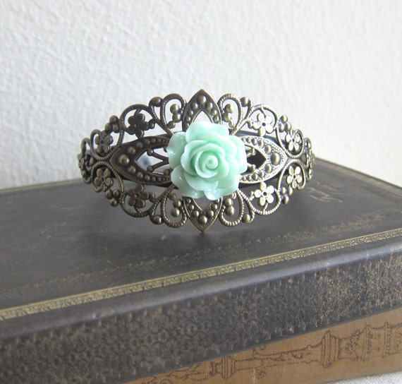 Mint Green Bracelet Bridemaid Gift Wedding Floral Cuff Bangle Corsage Rose Flower Pale Mint Romantic Victorian Shabby Chic