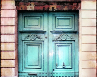 Paris Door Photography, Paris Doors, Paris Art, Old Door, Romantic Paris, Vintage Look, pink, green