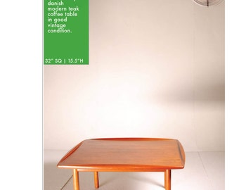 Square Danish Modern Teak Coffee Table