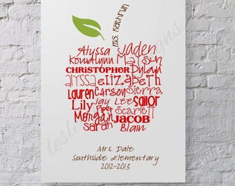 ORIGINAL Apple Typography Art, 11x14