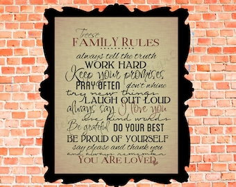 Family Rules with YOUR NAME... Typography Art, 11x14 or 8x10